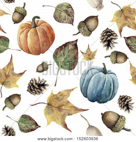 Watercolor autumn seamless pattern. Hand painted pine cone, acorn, berry, yellow and green fall leaves and pumpkin ornament isolated on white background. Botanical illustration for design, print, fabric.