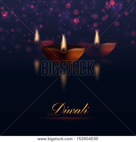 Happy Diwali traditional holiday. Vector illustration eps10