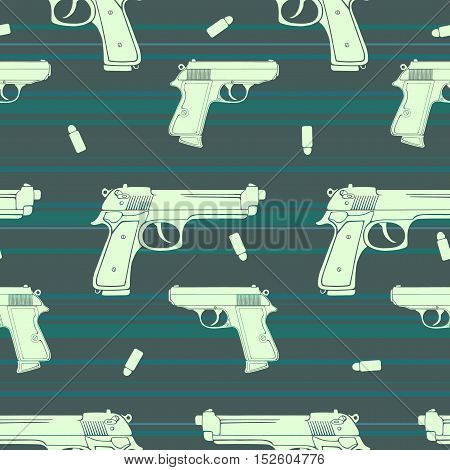 Colored guns seamless pattern made of silhouettes of guns and bullets