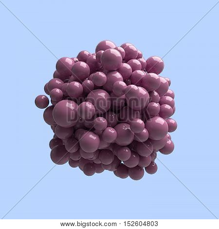 Many crimson spheres of different sizes with plastic reflections are grouped in the center isolated on a colored background. Abstract background wallpaper. 3d illustration