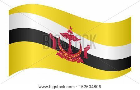Bruneian national official flag. Patriotic symbol banner element background. Correct colors. Flag of Brunei waving on white background vector illustration