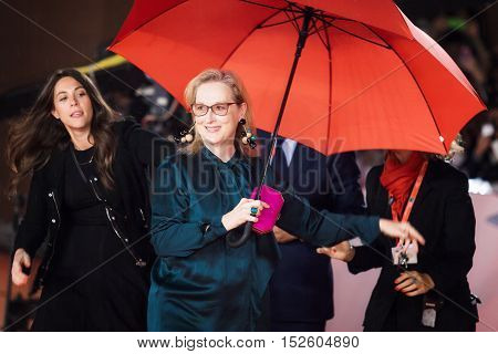 Rome Italy - October 20 2016. The actress Meryl Streep on the red carpet at the Rome Film Festival with the open umbrella to a light rain. At the Auditorium Parco della Musica.
