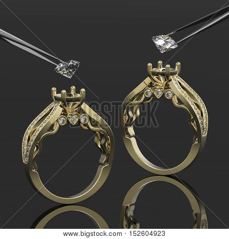 Vintage 3d golden rings, a diamonds in tweezers