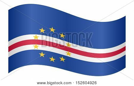 Cape Verdean national official flag. African patriotic symbol banner element background. Correct colors. Flag of Cape Verde waving on white background vector illustration