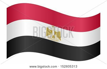 Egyptian national official flag. Arab Republic of Egypt patriotic symbol banner element background. Correct colors. Flag of Egypt waving on white background vector illustration