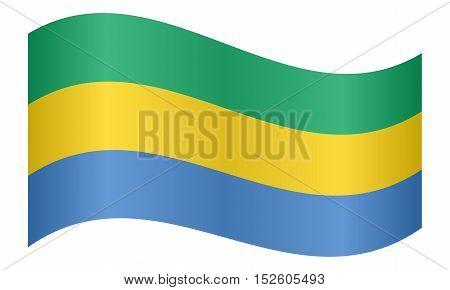 Gabonese national official flag. African patriotic symbol banner element background. Correct colors. Flag of Gabon waving on white background vector illustration