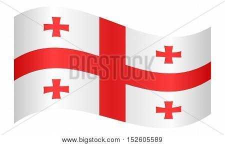 Georgian national official flag. Patriotic symbol banner element background. Correct colors. Flag of Georgia waving on white background vector illustration