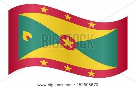 Grenadian national official flag. Patriotic symbol banner element background. Correct colors. Flag of Grenada waving on white background vector illustration