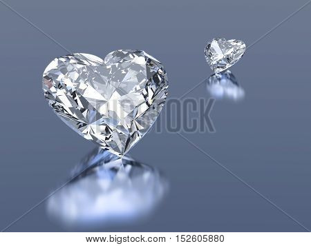 Group of 2 3d diamonds hearts stone