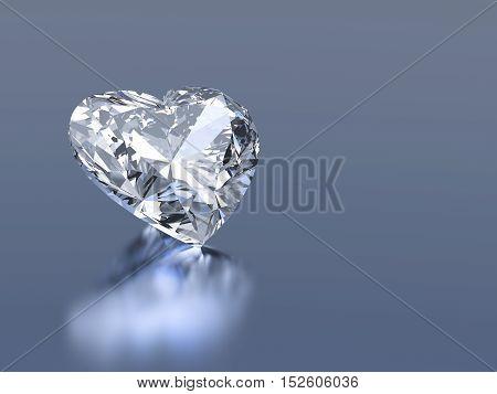3d diamond heart stone on a blue background