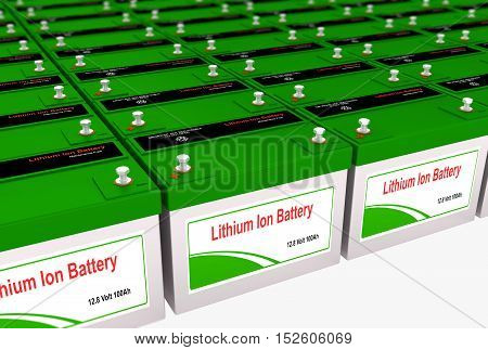 3D rendering of a Lithium Ion rechargeable battery bank