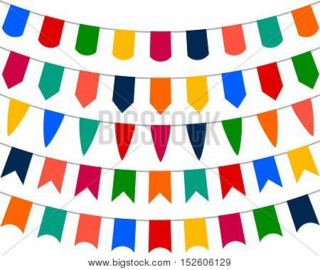 Collection of festive decorative flags for the holiday on a white background, vector illustration