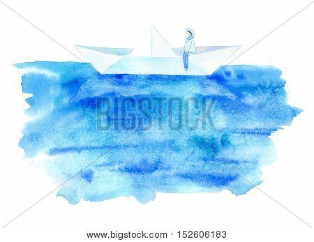 Sailor and boat postcard. Sea greeting card. Watercolor hand drawn illustration.