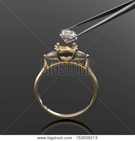 Vintage 3d golden ring, a diamond stone in tweezers