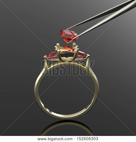 Vintage 3d golden ring, a diamond ruby in tweezers
