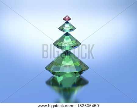 3d Diamonds christmas tree on a blue background