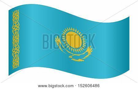 Kazakhstani national official flag. Patriotic symbol banner element background. Correct colors. Flag of Kazakhstan waving on white background vector illustration