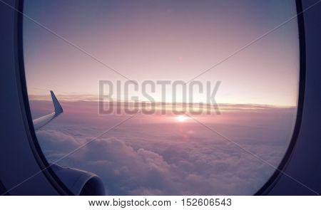 Beautiful sunrise view from an Airplane Window.