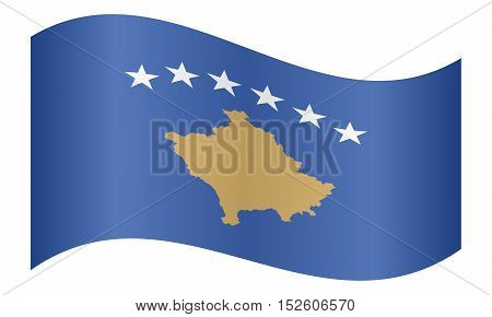 Kosovan national official flag. Patriotic symbol banner element background. Correct colors. Flag of Kosovo waving on white background vector illustration