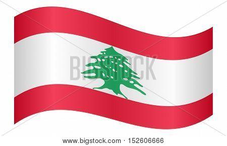 Lebanese national official flag. Patriotic symbol banner element background. Correct colors. Flag of Lebanon waving on white background vector illustration