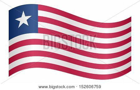 Liberian national official flag. African patriotic symbol banner element background. Correct colors. Flag of Liberia waving on white background vector illustration