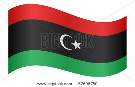 Libyan national official flag. African patriotic symbol banner element background. Correct colors. Flag of Libya waving on white background vector illustration