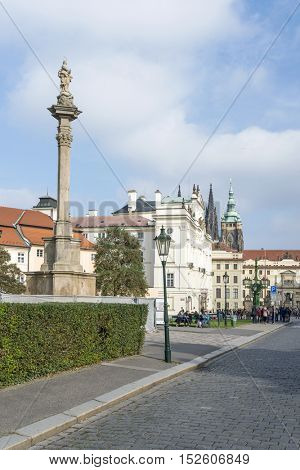 PRAGUE, OCTOBER 15: Loretanska Street leading up to the Old Royal Palace on October 15, 2016 in Prague, Czech Republic.