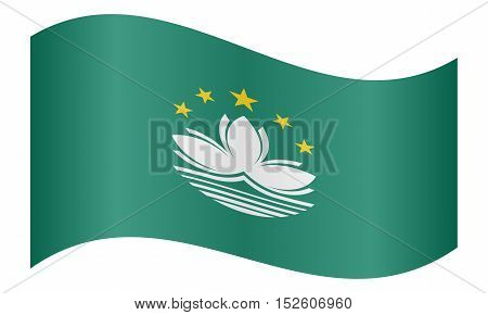 Macanese official flag. Patriotic chinese symbol banner element background. Macau is special region of PRC. Correct colors. Flag of Macau waving on white background vector illustration