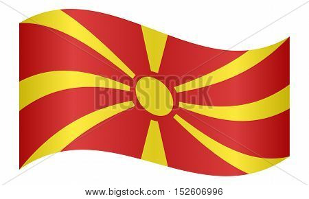 Macedonian national official flag. Patriotic symbol banner element background. Correct colors. Flag of Macedonia waving on white background vector illustration