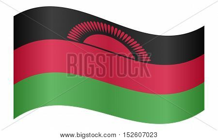 Malawian national official flag. African patriotic symbol banner element background. Correct colors. Flag of Malawi waving on white background vector illustration