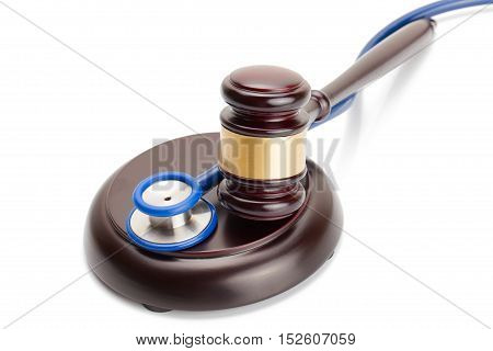 Studio Shot Of Judge Gavel And Stethoscope