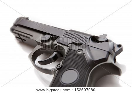 Hand Gun With No Logos Or Serial Numbers - Close Up Studio Shot On White