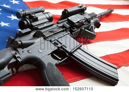 Ruffled National Cotton Flag With Machine Gun Over It Series - United States