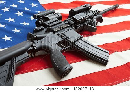 National Cotton Flag With Machine Gun Over It Series - United States
