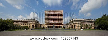 Independence square in Sukhum and Abkhazia government abandoned house
