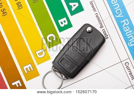 Car key over colorful efficiency chart - studio shot