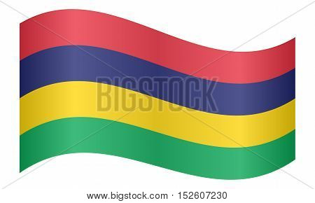 Mauritian national official flag. African patriotic symbol banner element background. Correct colors. Flag of Mauritius waving on white background vector illustration