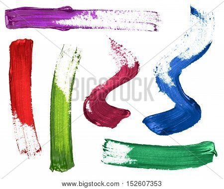 set of colorful strokes of paint or nail polish on white background