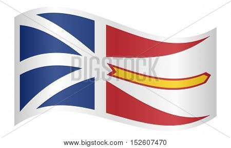 Canadian provincial NL patriotic element and official symbol. Canada banner and background. Correct colors. Flag of the Canadian province of Newfoundland and Labrador waving on white background vector