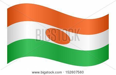 Nigerien national official flag. African patriotic symbol banner element background. Correct colors. Flag of Niger waving on white background vector illustration