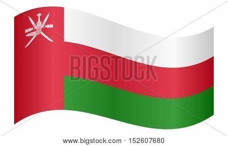 Omani national official flag. Patriotic symbol banner element background. Correct colors. Flag of Oman waving on white background vector illustration