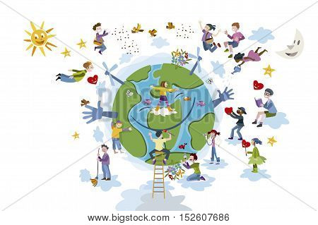 Circle of happy childrend of different races working and playing together take care of Planet Earth.