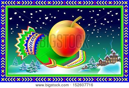 Winter greeting card with mitten and apple, vector cartoon image.