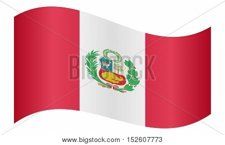 Peruvian national official flag. Patriotic symbol banner element background. Correct colors. Flag of Peru waving on white background vector illustration