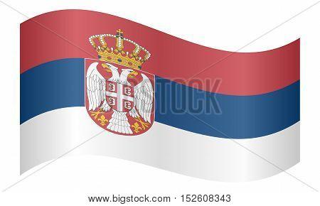 Serbian national official flag. Patriotic symbol banner element background. Correct colors. Flag of Serbia waving on white background vector illustration