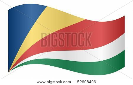 Seychellois national official flag. African patriotic symbol banner element background. Correct colors. Flag of Seychelles waving on white background vector illustration