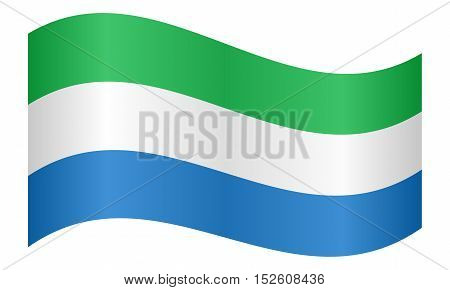 Sierra Leonean national official flag. African patriotic symbol banner element background. Correct colors. Flag of Sierra Leone waving on white background vector illustration
