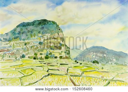 Watercolor original landscape painting colorful of illustration house on the hill forest mountain range
