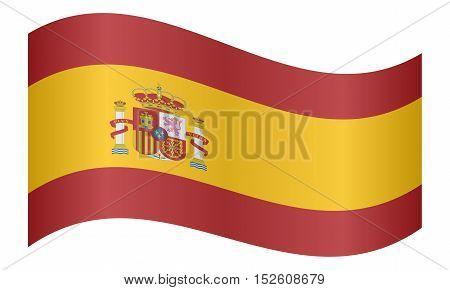 Spanish national official flag. Patriotic symbol banner element background. Correct colors. Flag of Spain waving on white background vector illustration