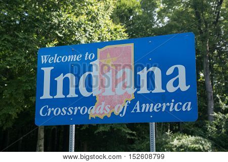 Welcome to Indiana sign along state border